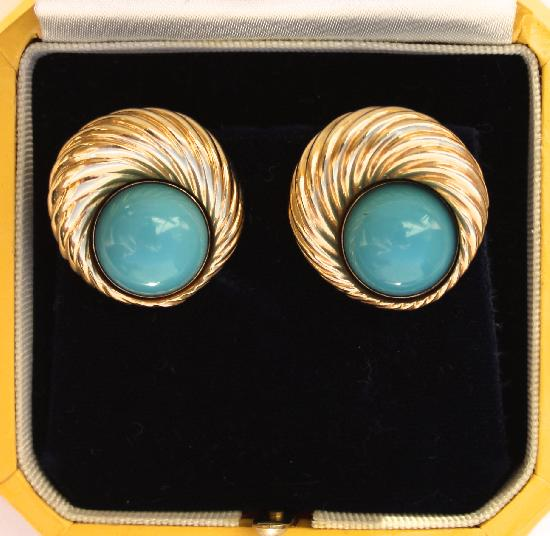 TURQUOISE AND GOLD RETRO EARRINGS
