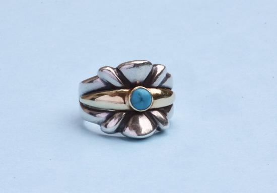 TURQUOISE AND SILVER STYLISH RING