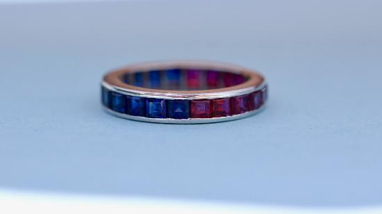 UNUSUAL RUBY SAPPHIRE FULL ETERNITY RING
