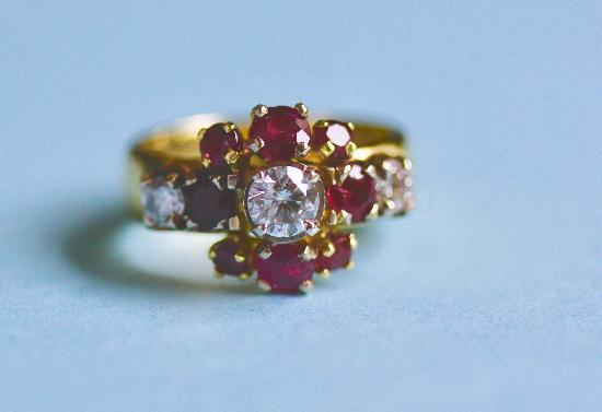 VINTAGE CONTINENTAL RUBY AND DIAMOND ENGAGEMENT RING