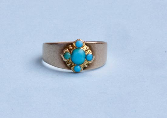 VINTAGE FIVE STONE TURQUOISE CHILDS RING.