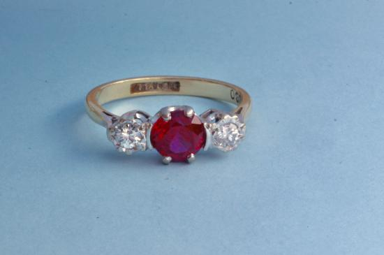 VINTAGE RED SPINEL AND DIAMOND ENGAGEMENT RING
