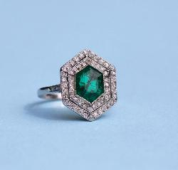 Emerald And Diamond Engagement Ring. French Art Deco