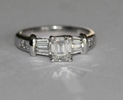 Emerald Cut Diamond Engagement Ring.  G Colour
