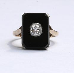 Onyx And Diamond Engagement Ring.   Art Deco