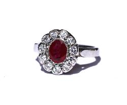 Ruby And Diamond Cluster Engagement Ring   Vintage