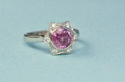 Adorable Platinum Pink Sapphire Engagement Ring