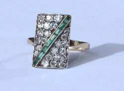 Antique Diamond And Emerald Engagement Ring