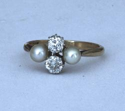 Antique Diamond And Pearl Engagement Ring
