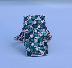 Antique Emerald And Diamond Chequerboard Ring
