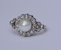 Antique Pearl And Diamond Engagement Ring