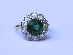 Antique Tourmaline Diamond Cluster Engagement Ring