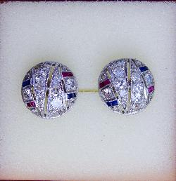 Art Deco Diamond Ruby And Sapphire Earrings