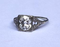 Art Deco Diamond Solitaire Engagement Ring 2.50 Carats