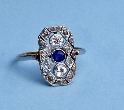Art Deco Sapphire And Diamond Plaque Ring