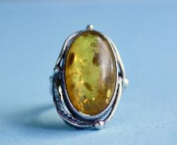 Art Nouveau Large Amber And Silver Ring
