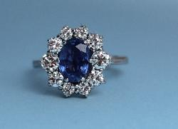 Beautiful Colour Sapphire And Diamond  Engagement Ring