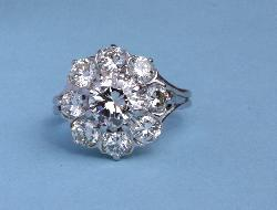 Beautiful Diamond Daisy Cluster Engagement Ring.vintage