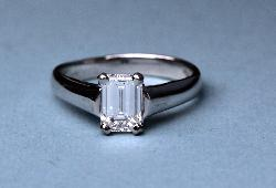 Certificated Diamond Emerald Cut Engagement Ring