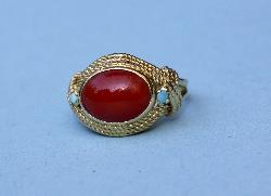 Charming Coral And Turquoise Pinky Ring