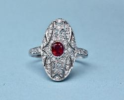 Contemperary Ruby And Diamond Ring