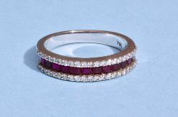 Contemporary Ruby And Diamond Eternity Ring