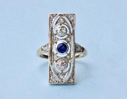 Continental Unusual Diamond And Sapphire Plaque Ring