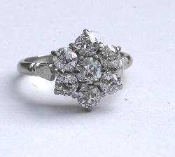Diamond  Daisy Cluster Engagement Ring.   Vintage