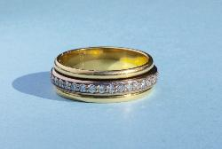 Diamond And Gold Triple Band Ring
