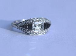 Diamond And Onyx Engagement Ring