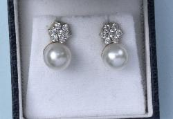 Diamond And Pearl Pretty Drop Earrings