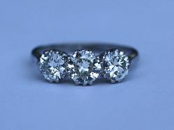 Diamond And Platinum Three Stone Engagement Ring