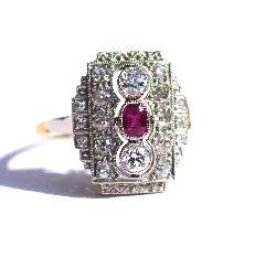 Diamond And Ruby Art Deco Engagement Ring