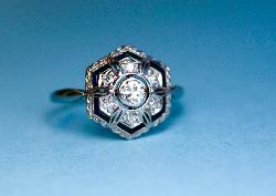 Diamond And Sapphire 1920s Engagement  Ring