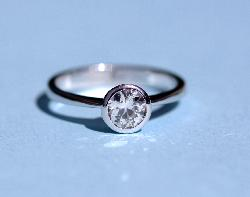 Diamond Solitaire Set In Rub Over Setting Vintage
