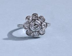 Edwardian Diamond Daisy Engagement Ring