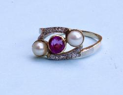 Edwardian Pearl Diamond Ruby Engagement Ring