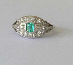Emerald And Diamond Engagement Ring Retro