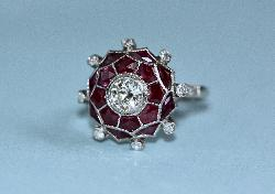 Fabulous Art Deco Ruby And Diamond Engagement Ring
