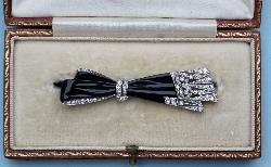 Fabulous French Art Deco Platinum  Diamond Bow Brooch