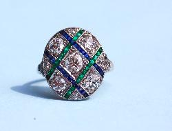 Fabulous Genuine Art Deco Emerald, Sapphire And Diamond Ring