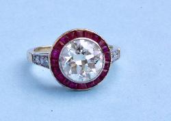 Fabulous Original Art Deco Ruby And Diamond Engagement Ring
