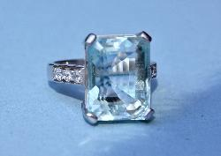 Fabulous Retro Large Aquamarine And Diamond Ring