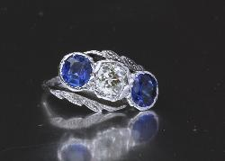 Fantastic Antique Diamond And Sapphire Three Stone Engagement Ring
