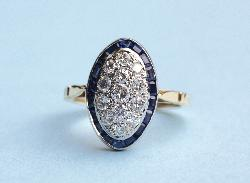 French Art Deco Style Sapphire And Diamond Engagement Ring