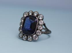 French Sapphire Paste Ring 1930