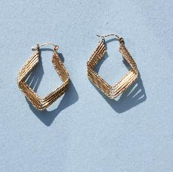 Gold Fancy Hoop Earrings
