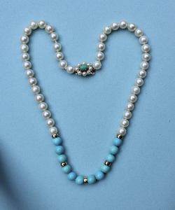 Good Quality Cultured Pearl And Turquoise Necklace