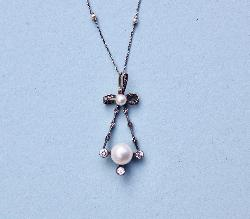 Gorgeous Antique Pearl And Diamond Pendant