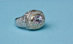 Large Kunzite And Diamond Cocktail Ring